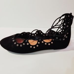 DV Black Faux Suede Lace-Up Flats (10)